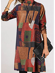 cheap -Women's Sweater Jumper Dress Knee Length Dress - Long Sleeve Print Fall Winter Turtleneck Casual Vintage 2020 Brown Rainbow S M L XL XXL 3XL