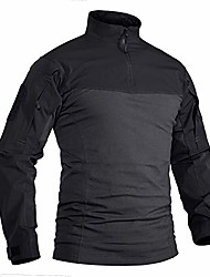 cheap -men's tactical military shirt 1/4 zip cotton assault top long sleeve hiking shirt black grey, m