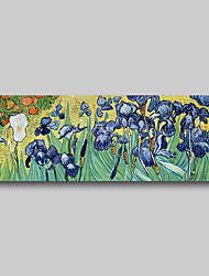 cheap -Hand Painted Van Gogh Museum Quality Oil Painting - Abstract Landscape Blue Irises Flowers Modern Large Rolled Canvas