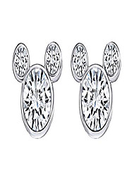 cheap -cubic zirconia mickey mouse stud earrings in 14k white gold over sterling silver