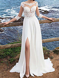 cheap -A-Line Wedding Dresses Jewel Neck Sweep / Brush Train Chiffon Lace 3/4 Length Sleeve Beach with Appliques Split Front 2020