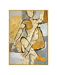 cheap -100% Hand-Painted Contemporary Art Oil Painting On Canvas Modern Paintings Home Interior Decor Abstract Art Golden Person Painting Large Canvas Art(Rolled Canvas without Frame)