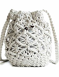 cheap -womens drawstring crossbody bag beach handwoven purse small straw bucket bag retro woven hollow shoulder messenger bag