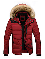 cheap -winter jackets for men skiing jacket thick fleece outwear stand collar with detachable hood red
