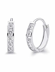 cheap -14k real white gold 2mm thickness cz channel set hoop huggie earrings (10 x 10 mm)