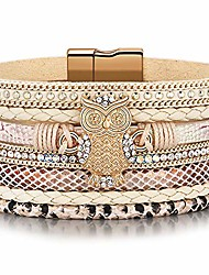 cheap -owl bracelets jewelry gifts for women,leather wrap boho stacking multilayer wide wrist magnetic clasp buckle casual graduation owl bracelets for women mom her ideas girls