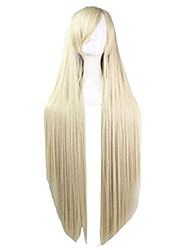 cheap -100cm long straight full wigs light gold bangs cosplay/party hair for women