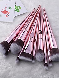 cheap -10 pcs Laser Makeup Brush Set Thumb Makeup Brush Makeup Utensil Nylon Brush Plastic Electroplating Handle