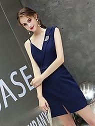 cheap -Sheath / Column Minimalist Sexy Homecoming Party Wear Dress V Neck Sleeveless Short / Mini Spandex with Split 2021