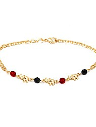 cheap -18k gold plated mariner link red & black elephant anklet (ank112-10)