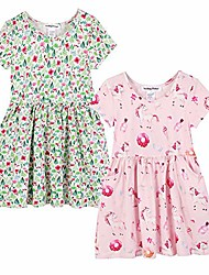 cheap -girls unicorn dress 2-pack short sleeve casual dresses with pockets (black and white, 2-3t)
