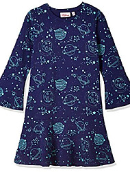 cheap -youth girls trumpet-sleeve drop-waist dress with all-over print space motif small space aop