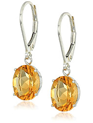 cheap -sterling silver oval citrine dangle earrings