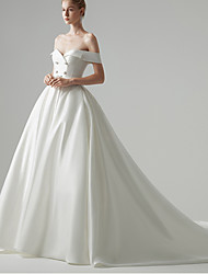 cheap -Ball Gown Wedding Dresses Off Shoulder Chapel Train Satin Sleeveless Formal Simple with 2021
