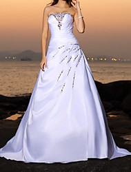 cheap -Ball Gown Wedding Dresses Strapless Sweep / Brush Train Satin Sleeveless Country Beach with Beading 2021