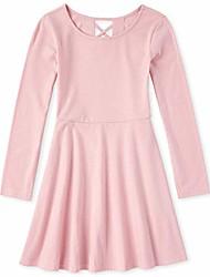 cheap -girls' long sleeve pleated dress, cosmic rays, x-large (14)