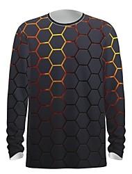 cheap -Men's T shirt 3D Print Graphic Abstract 3D Print Long Sleeve Daily Tops Gold