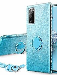 cheap -compatible for galaxy note 20 case, glitter ombre case for women girls with ring holder, bling diamond rhinestone sparkle kickstand stand cover for samsung galaxy note 20 6.7 inch (gradient teal)