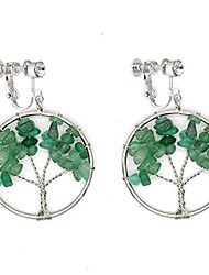 cheap -dangle clip on earring tree of life fashion jewelry green crystal gemstone amethyst wire wrap for women