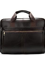 cheap -Men's Bags Cowhide Shoulder Messenger Bag Laptop Bag Briefcase Zipper Handbags Daily Going out Dark Coffee Coffee