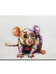 cheap -Mintura Original Large Size Hand Painted Abstract Mouse Animal Oil Painting on Canvas Pop Art Posters Modern Wall Pictures For Home Decoration No Framed