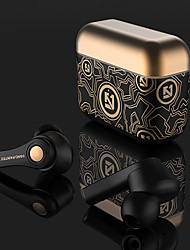 cheap -LITBest TWS Wireless Earbuds Gold Graffiti Bluetooth 5.0 Headphones Binaural Stereo Wireless Music Earphone Auto Pair