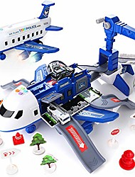 cheap -car toys set with transport cargo airplane, large theme airplane, 4 toy police cars, 11 road signs, educational toy vehicle play set girls for toddler boys girls age 3+