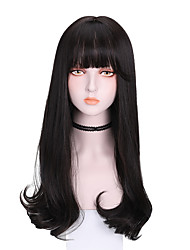 cheap -Synthetic Wig Curly With Bangs Wig Long Dark Brown Brown Black Synthetic Hair 22 inch Women's Comfy Fluffy Light Brown Brown