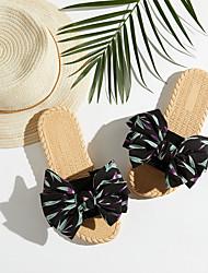 cheap -Women's Slippers & Flip-Flops Outdoor Slippers Beach Slippers Flat Heel Open Toe Sweet Boho Daily Home Polyester Color Block Black