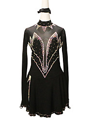 cheap -Figure Skating Dress Women's Girls' Ice Skating Dress Black Spandex High Elasticity Competition Skating Wear Solid Color Crystal / Rhinestone Long Sleeve Ice Skating Figure Skating / Kids