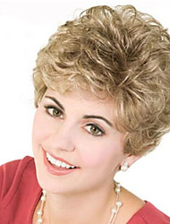 cheap -European and American Wig Female Short Hair Fashion Blond Short Curly Hair Middle-aged and Aged Wig Headgear 6 Inch
