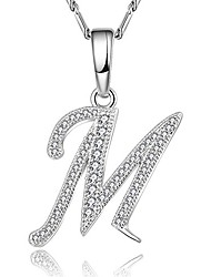 cheap -cubic zirconia platinum plated/18k gold plated chain m initial letter pendant necklace (m, platinum-plated)