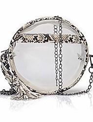 cheap -women girls fashion clear crossbody bag round transparent tassel purse shoulder handbag with chain or pu leather strap