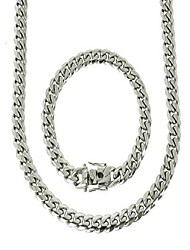 cheap -solid silver finish stainless steel 10mm thick miami cuban link chain box clasp lock (chain 18'' & bracelet 7'')