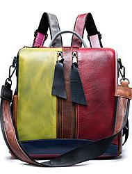 cheap -Women's Cowhide School Bag Commuter Backpack Large Capacity Waterproof Zipper Daily Retro Backpack Rainbow