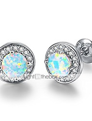 cheap -white gold plated brithstone studs earrings with bright cubic zirconia