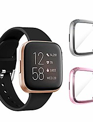 cheap -seltureone (2 pack) compatible for fitbit versa 2 screen protector case, full body cover scratch resistant shock absorbing ultra slim protective for fitbit versa 2 cases -gray,pink