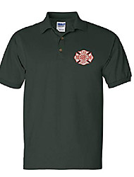 cheap -men's polo t shirt fire department embroidered firefighter top usa gift (m, forest green)