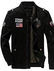 cheap -men's casual stylish military full zip cotton air force jacket coat (us l/asia tag 2xl, black)