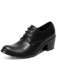 cheap -Men's Oxfords Business Daily Walking Shoes Leather Breathable Height-increasing Black Fall Spring