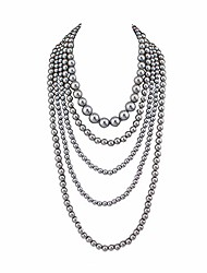 cheap -multilayer strand chain faux pearls flapper beads cluster long choker necklace