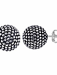 cheap -charmsy sterling silver jewelry light weight antique finish ball stud earrings for women