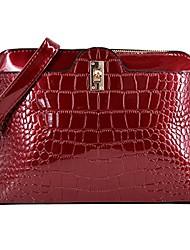 cheap -women pu patent leather alligator stripe handbag clutch shoulder bag cross body bag clutch handbag shell bag(burgundy)