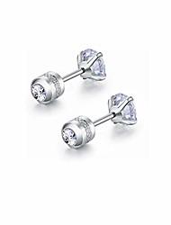 cheap -hypoallergenic double sided diamond stud earrings for womens girl secure safety screw back cartilage cz stud earrings (4mm steel
