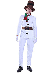 cheap -Santa Suit Costume Adults' Men's Christmas Christmas Festival Christmas Halloween Festival / Holiday Polyester White Men's Easy Carnival Costumes Solid Color / Top / Pants / Gloves / Hat / Waist Belt
