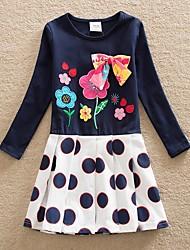 cheap -Kids Girls' Cute Polka Dot Floral Graphic Bow Print Long Sleeve Above Knee Dress Royal Blue