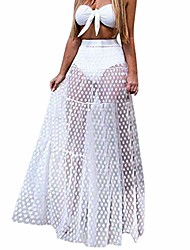 cheap -bcdshop women sheer fashion party long skirt summer women mesh beach skirts sundress (white, s)