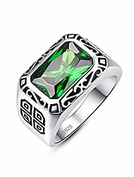 cheap -antique style jewelry synthetic emerald men's 925 sterling silver wedding band ring size 10