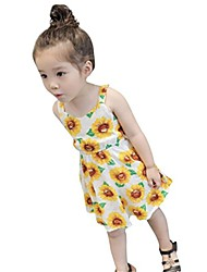 cheap -2-6 years old girls floral dress, kids sunflower print sleeveless backless skirts-witspace summer outfits clothes (yellow, 6 years)