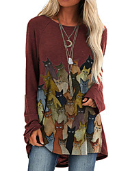 cheap -Women's Shift Dress Knee Length Dress Long Sleeve Print Animal Print Fall Casual 2021 Blue Wine Brown Gray S M L XL XXL 3XL